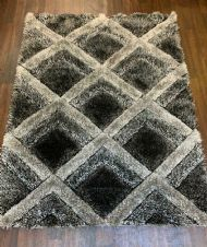 Rugs Approx 6x4Ft 120x160CM Carved 3D Design Top Quality Grey-Grey Rugs Woven